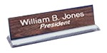 "2 x 8 plate w/Holder, Base Clear Lucite 8"" Engraved, Engraver, Engraving, Etched, Name Plates, Identity tags, Identifiers, Office signs, Signage, Laser, Lasered,  Carved, Ceramark, Lazered, Idaho, Custom, personalized, full color, Business Logos, Gift S"