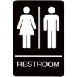 "9"" x 6"" Black ADA Unisex Restroom Sign with Braille"