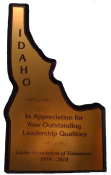 "6"" x 10"" Shape of Idaho Plaque with