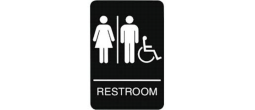 "9"" x 6"" Black ADA Unisex  Handicap Restroom Sign with Braille"