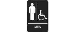 "9"" x 6"" Black ADA Men Handicap Restroom Sign with Braille"