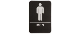 "9"" x 6"" Black ADA Men Restroom Sign with Braille"