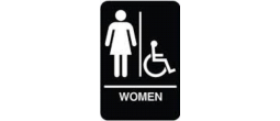 "9"" x 6"" Black ADA Women Handicap Restroom Sign with Braille"