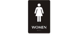 "9"" x 6"" Black ADA Women Restroom Sign with Braille"